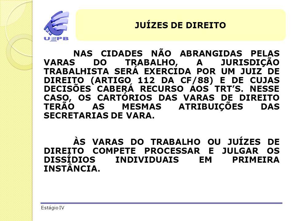 JUÍZES DE DIREITO NAS CIDADES NÃO ABRANGIDAS PELAS VARAS DO TRABALHO, A JURISDIÇÃO TRABALHISTA SERÁ EXERCIDA POR UM JUIZ DE DIREITO (ARTIGO 112 DA CF/