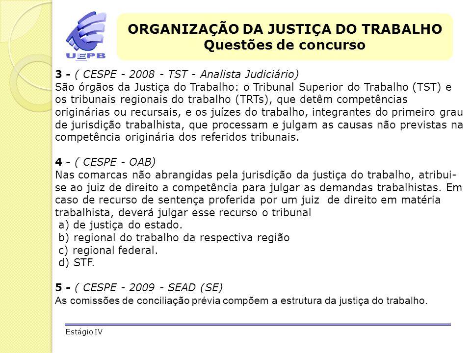 ORGANIZAÇÃO DA JUSTIÇA DO TRABALHO Questões de concurso Estágio IV 3 - ( CESPE - 2008 - TST - Analista Judiciário) São órgãos da Justiça do Trabalho: