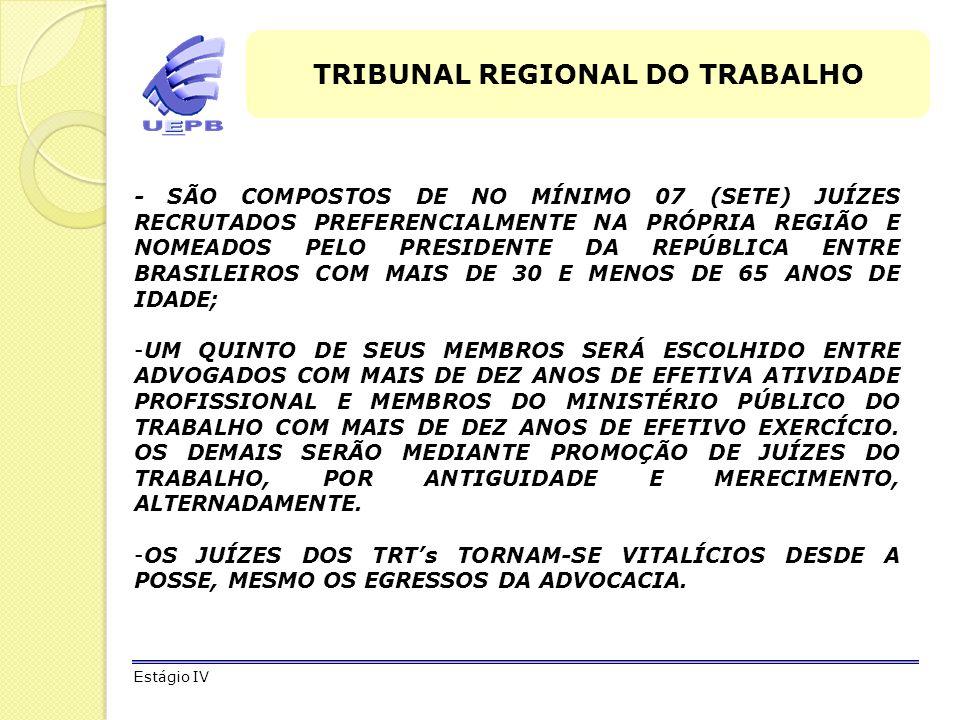 ORGANIZAÇÃO DA JUSTIÇA DO TRABALHO Questões de concurso Estágio IV 3 - ( CESPE - 2008 - TST - Analista Judiciário) São órgãos da Justiça do Trabalho: o Tribunal Superior do Trabalho (TST) e os tribunais regionais do trabalho (TRTs), que detêm competências originárias ou recursais, e os juízes do trabalho, integrantes do primeiro grau de jurisdição trabalhista, que processam e julgam as causas não previstas na competência originária dos referidos tribunais.
