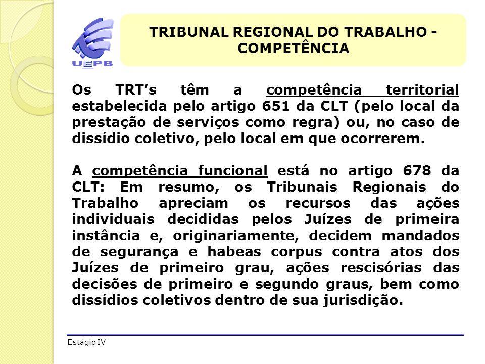 TRIBUNAL REGIONAL DO TRABALHO - COMPETÊNCIA Os TRTs têm a competência territorial estabelecida pelo artigo 651 da CLT (pelo local da prestação de serv