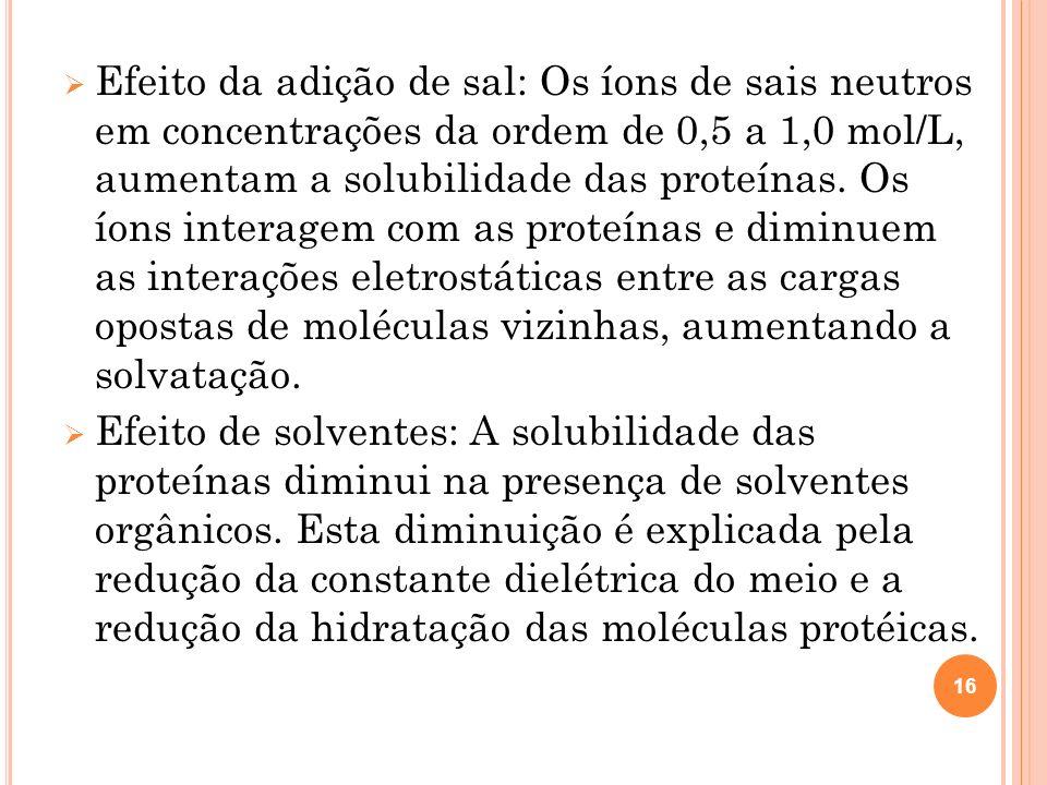 Efeito da adição de sal: Os íons de sais neutros em concentrações da ordem de 0,5 a 1,0 mol/L, aumentam a solubilidade das proteínas.