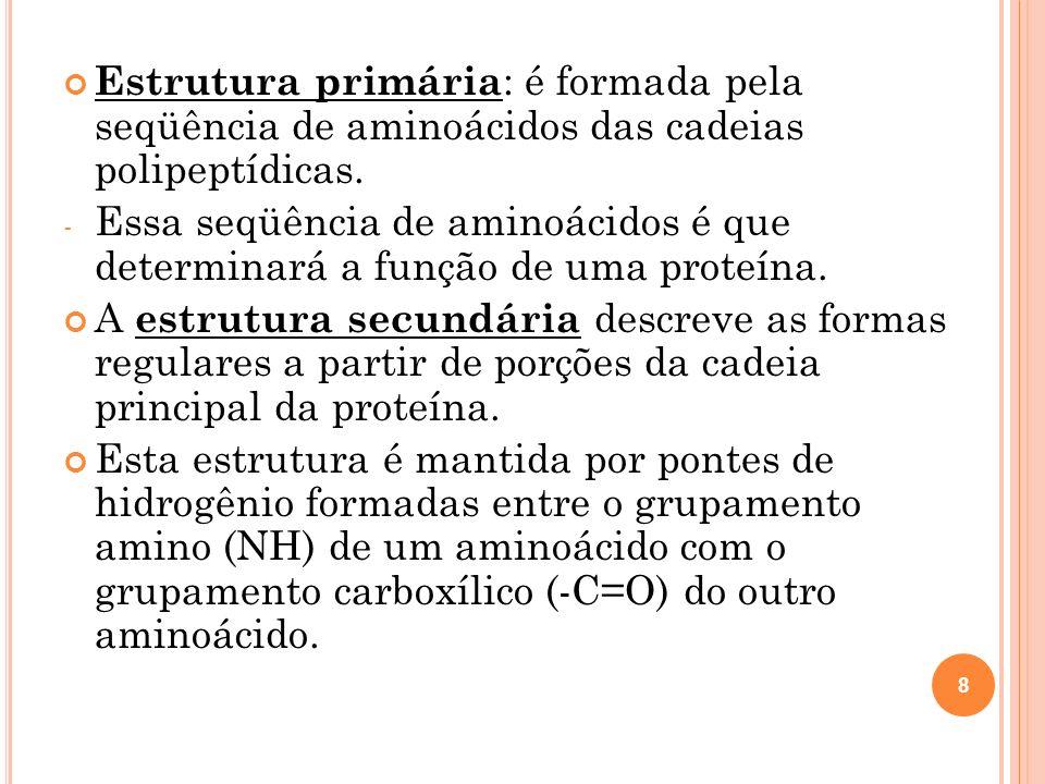Estrutura primária : é formada pela seqüência de aminoácidos das cadeias polipeptídicas.