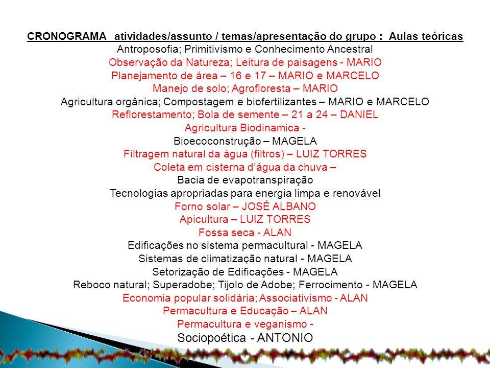 CRONOGRAMA atividades/assunto / temas/apresentação do grupo : Aulas teóricas Antroposofia; Primitivismo e Conhecimento Ancestral Observação da Naturez
