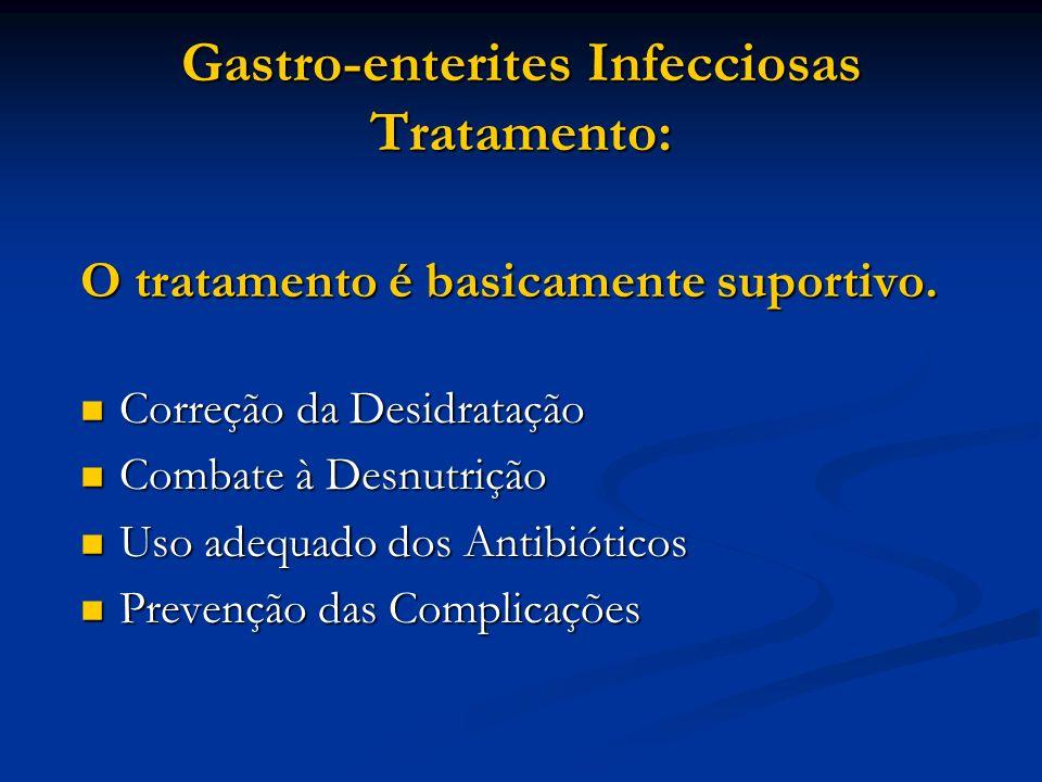 Gastro-enterites Infecciosas Tratamento: O tratamento é basicamente suportivo. Correção da Desidratação Correção da Desidratação Combate à Desnutrição