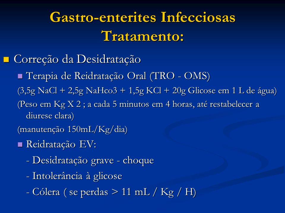 Gastro-enterites Infecciosas Tratamento: Correção da Desidratação Correção da Desidratação Terapia de Reidratação Oral (TRO - OMS) Terapia de Reidrata