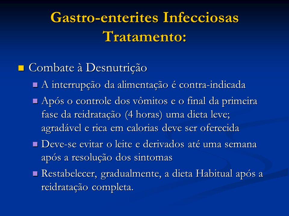Gastro-enterites Infecciosas Tratamento: Combate à Desnutrição Combate à Desnutrição A interrupção da alimentação é contra-indicada A interrupção da a