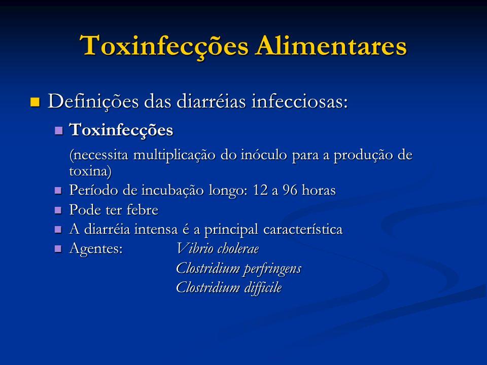Toxinfecções Alimentares Definições das diarréias infecciosas: Definições das diarréias infecciosas: Toxinfecções Toxinfecções (necessita multiplicaçã