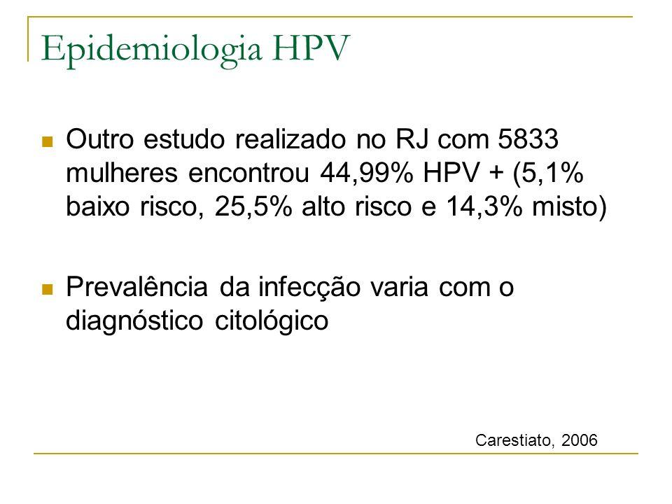 Outro estudo realizado no RJ com 5833 mulheres encontrou 44,99% HPV + (5,1% baixo risco, 25,5% alto risco e 14,3% misto) Prevalência da infecção varia