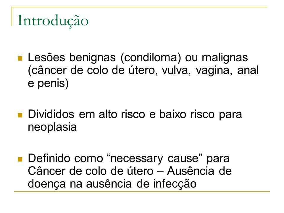 Introdução Lesões benignas (condiloma) ou malignas (câncer de colo de útero, vulva, vagina, anal e penis) Divididos em alto risco e baixo risco para n