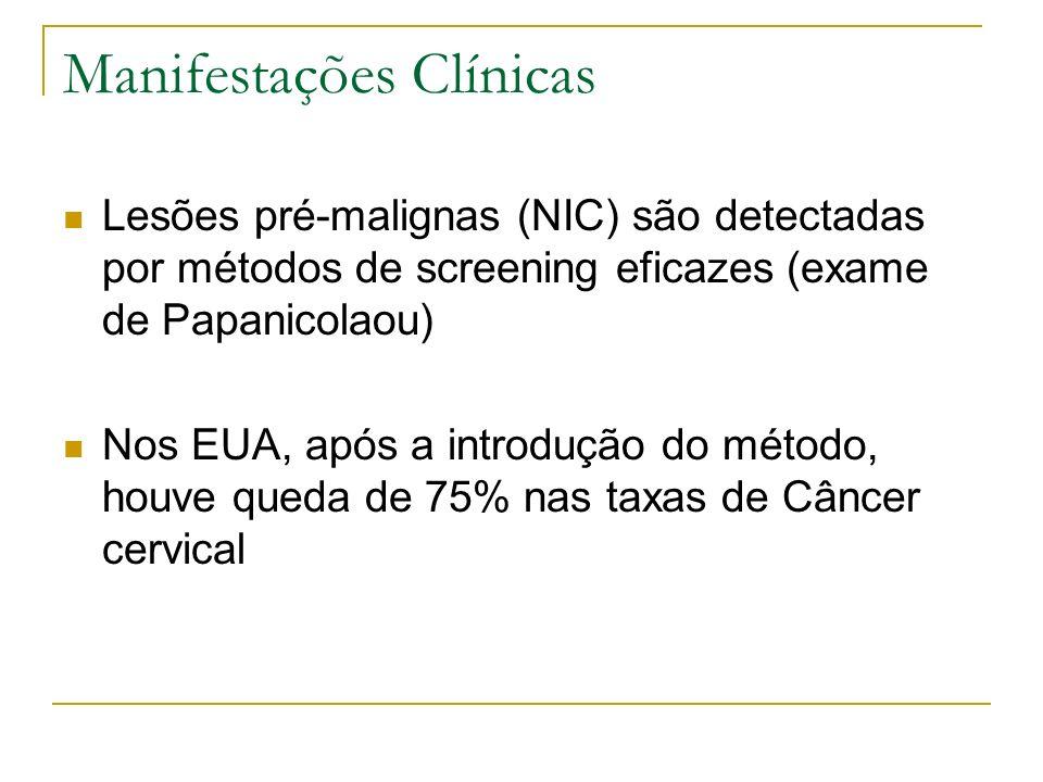 Manifestações Clínicas Lesões pré-malignas (NIC) são detectadas por métodos de screening eficazes (exame de Papanicolaou) Nos EUA, após a introdução d