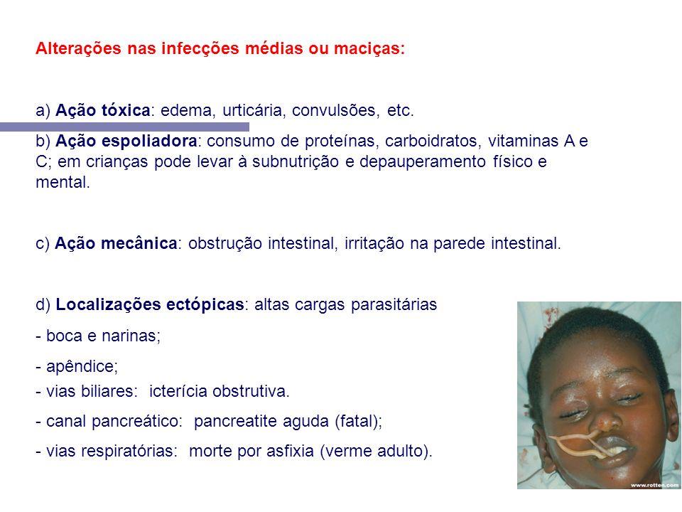 Alterações nas infecções médias ou maciças: a) Ação tóxica: edema, urticária, convulsões, etc. b) Ação espoliadora: consumo de proteínas, carboidratos
