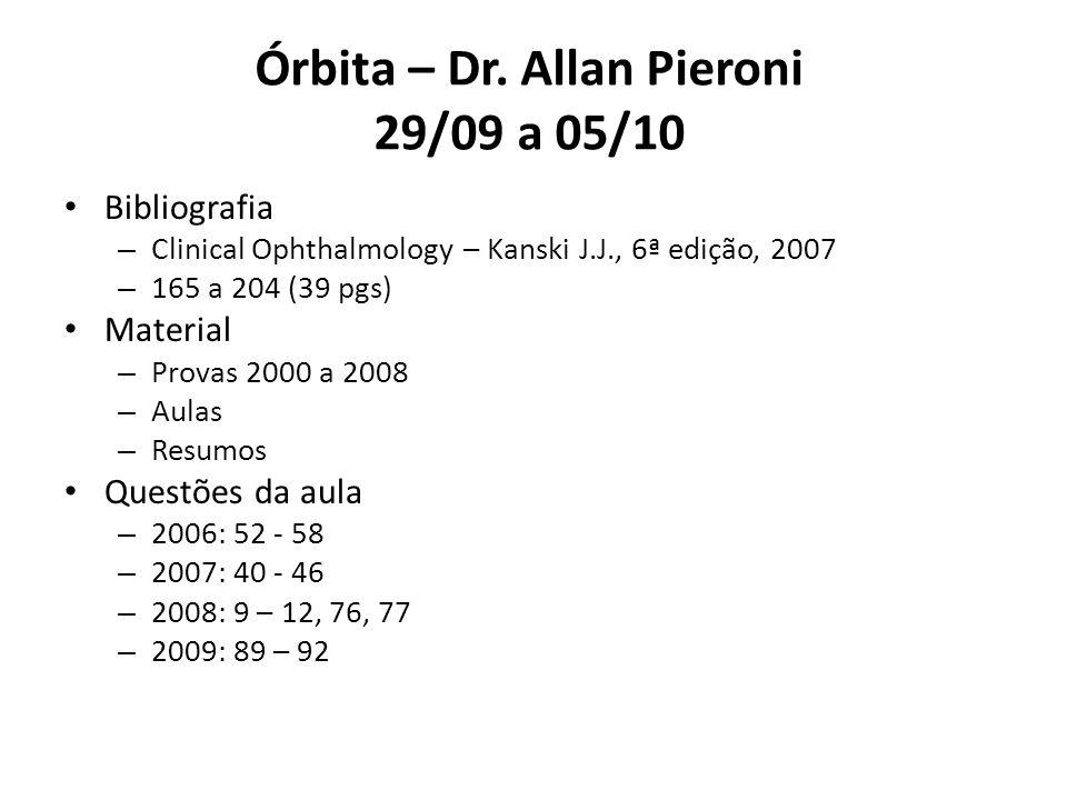Órbita – Dr. Allan Pieroni 29/09 a 05/10 Bibliografia – Clinical Ophthalmology – Kanski J.J., 6ª edição, 2007 – 165 a 204 (39 pgs) Material – Provas 2