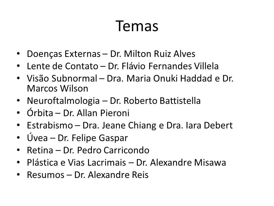 Temas Doenças Externas – Dr. Milton Ruiz Alves Lente de Contato – Dr. Flávio Fernandes Villela Visão Subnormal – Dra. Maria Onuki Haddad e Dr. Marcos