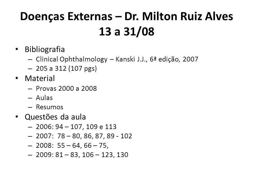 Doenças Externas – Dr. Milton Ruiz Alves 13 a 31/08 Bibliografia – Clinical Ophthalmology – Kanski J.J., 6ª edição, 2007 – 205 a 312 (107 pgs) Materia
