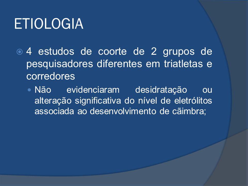 ETIOLOGIA 4 estudos de coorte de 2 grupos de pesquisadores diferentes em triatletas e corredores Não evidenciaram desidratação ou alteração significat