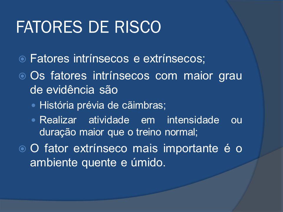 FATORES DE RISCO Fatores intrínsecos e extrínsecos; Os fatores intrínsecos com maior grau de evidência são História prévia de cãimbras; Realizar ativi