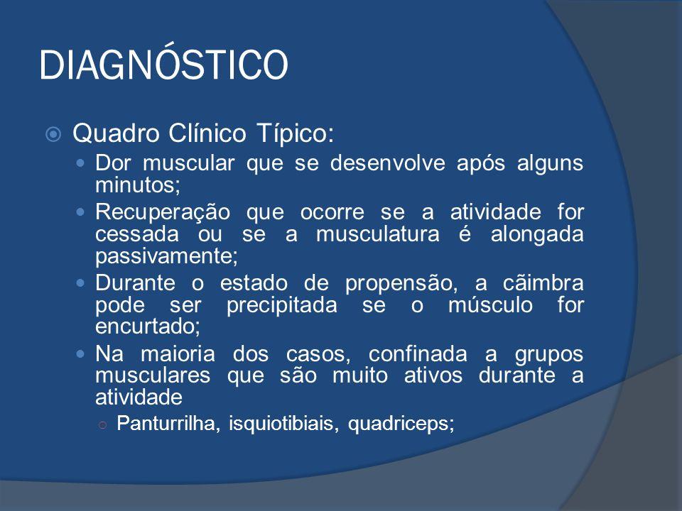 DIAGNÓSTICO Quadro Clínico Típico: Dor muscular que se desenvolve após alguns minutos; Recuperação que ocorre se a atividade for cessada ou se a muscu