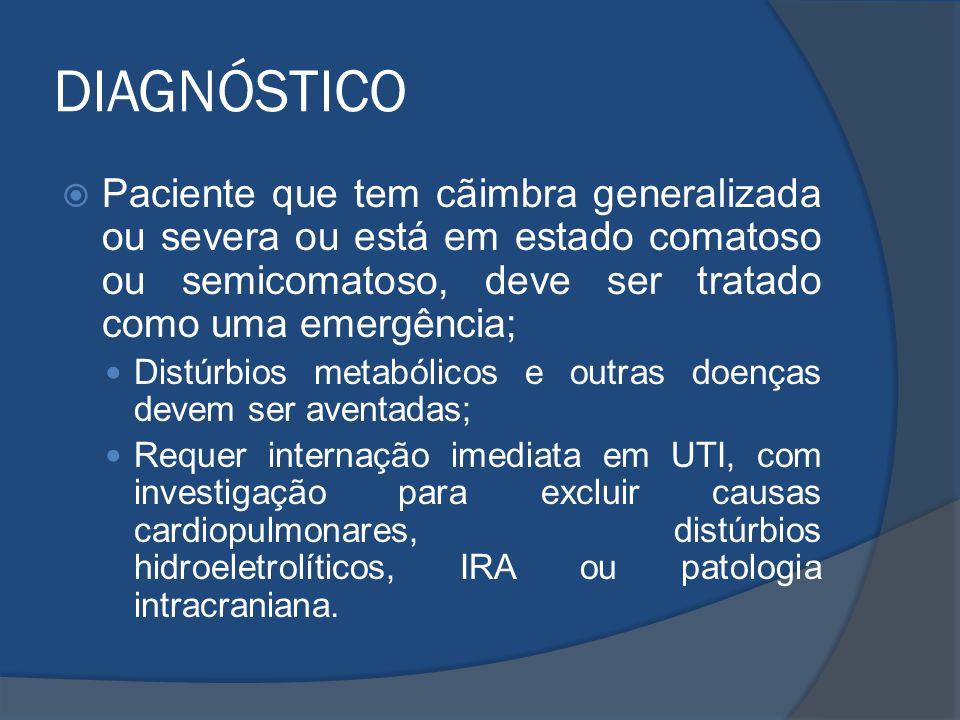 DIAGNÓSTICO Paciente que tem cãimbra generalizada ou severa ou está em estado comatoso ou semicomatoso, deve ser tratado como uma emergência; Distúrbi