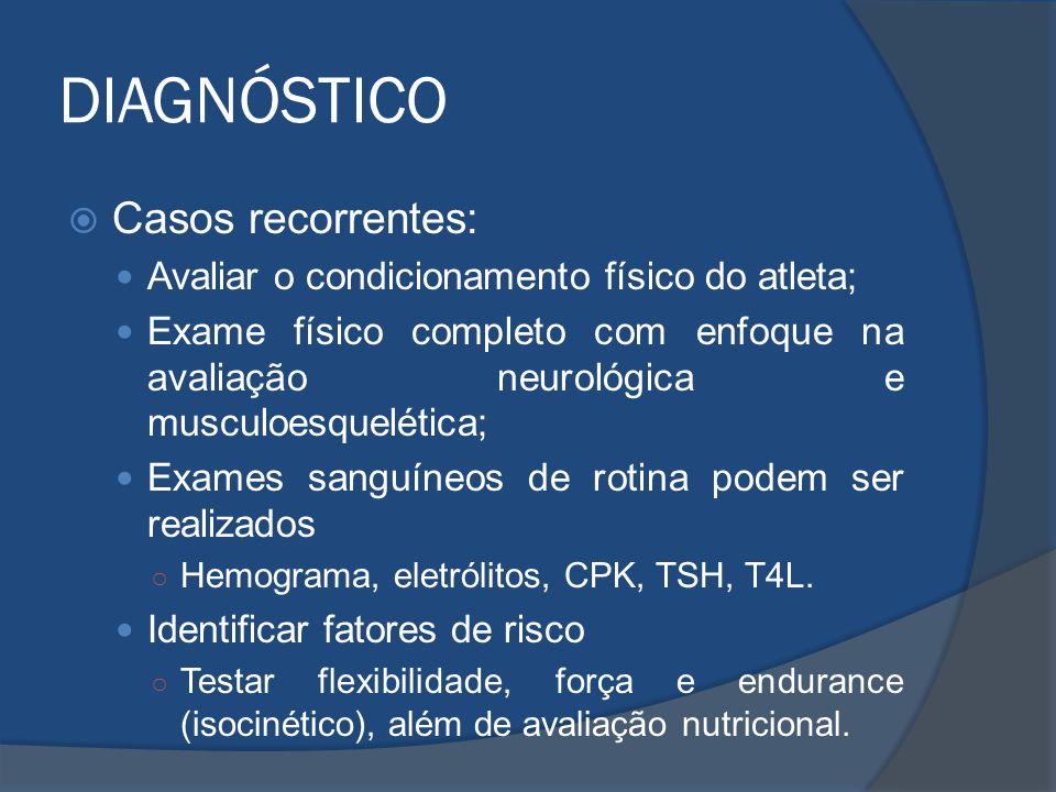 DIAGNÓSTICO Casos recorrentes: Avaliar o condicionamento físico do atleta; Exame físico completo com enfoque na avaliação neurológica e musculoesquelé
