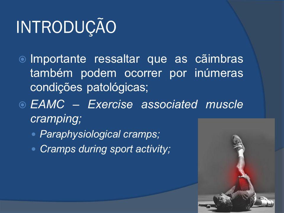 INTRODUÇÃO Importante ressaltar que as cãimbras também podem ocorrer por inúmeras condições patológicas; EAMC – Exercise associated muscle cramping; P