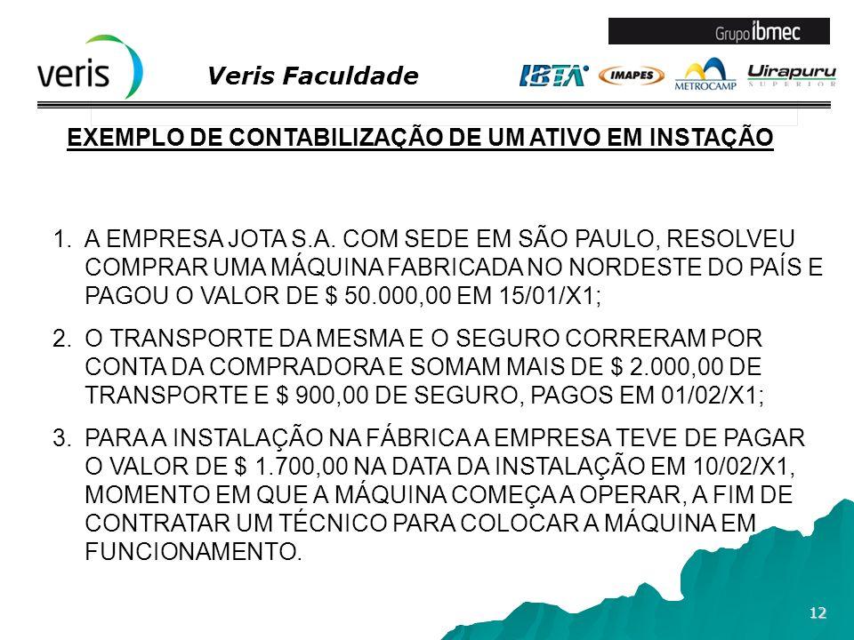 Veris Faculdade 12 EXEMPLO DE CONTABILIZAÇÃO DE UM ATIVO EM INSTAÇÃO 1.A EMPRESA JOTA S.A. COM SEDE EM SÃO PAULO, RESOLVEU COMPRAR UMA MÁQUINA FABRICA