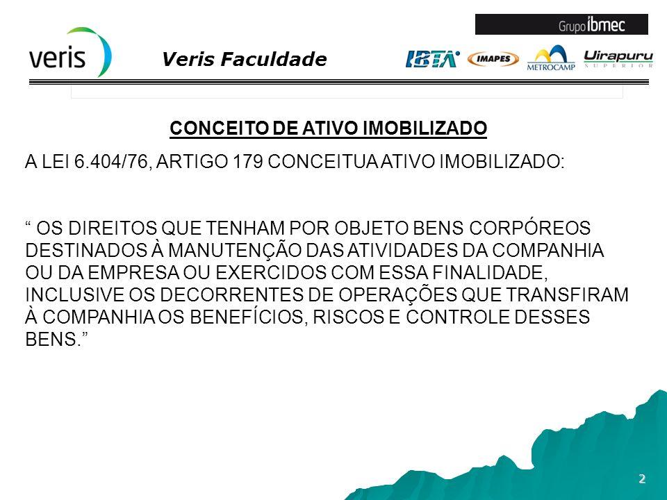 Veris Faculdade 3 CONCEITO DE ATIVO IMOBILIZADO O PRONUNCIAMENTO TÉCNICO CPC 27 – ATIVO IMOBILIZADO, APROVADO PELA DELIBERAÇÃO CVM 583/09 E TORNADO OBRIGATÓRIO PELA RESOLUÇÃO CFC 1.177/09 CONCEITUA: -ATIVO IMOBILIZADO TANGÍVEL = MANTIDO PARA USO DA PRODUÇÃO OU FORNECIMENTO DE MERCADORIAS OU SERVIÇOS, PARA ALUGUEL A OUTROS, OU PARA FINS ADMINISTRATIVOS; E - QUE SE ESPERA UTILIZAR POR MAIS DE UM ANO.