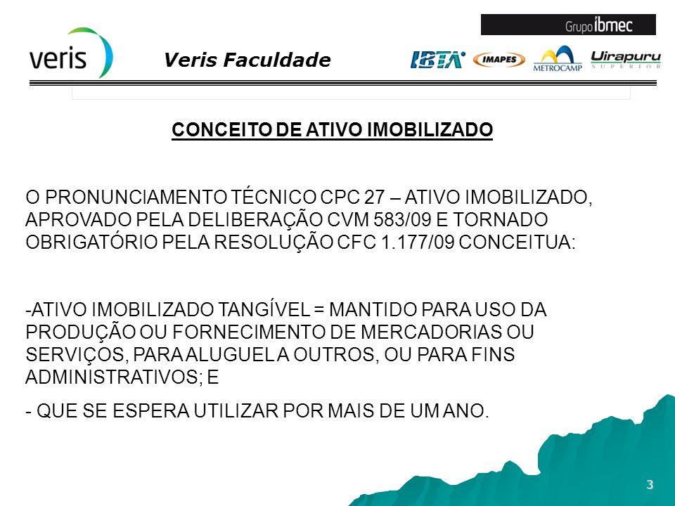 Veris Faculdade 14 EXEMPLO DE CONTABILIZAÇÃO DE UM ATIVO EM INSTAÇÃO