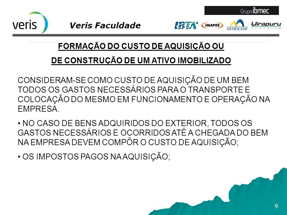Veris Faculdade 10 FORMAÇÃO DO CUSTO DE AQUISIÇÃO OU DE CONSTRUÇÃO DE UM ATIVO IMOBILIZADO A FASE DE CONSTRUÇÃO ONDE HÁ GASTOS COM AQUISIÇÃO DE MATERIAIS, PESSOAL, SERVIÇOS TERCEIRIZADOS, ETC, DEVEM ESTAR AGRUPADOS EM CONTA ESPECÍFICA IMOBILIZADO EM CURSO OU EM CONSTRUÇÃO