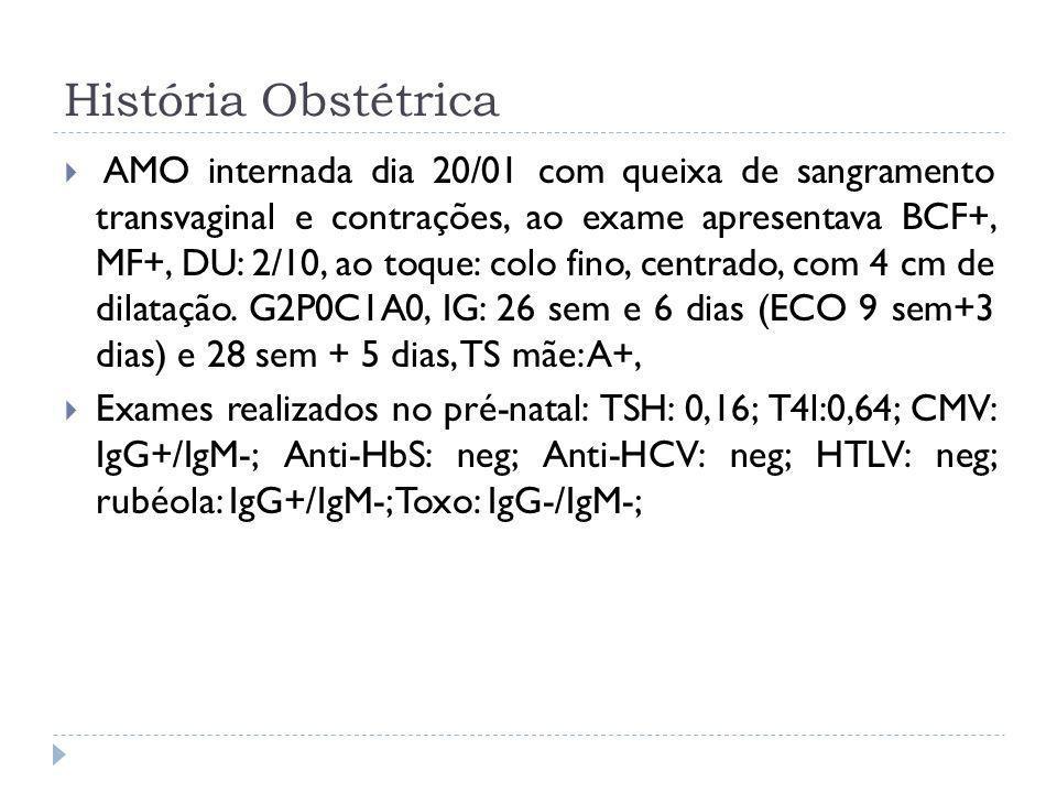 História Obstétrica AMO internada dia 20/01 com queixa de sangramento transvaginal e contrações, ao exame apresentava BCF+, MF+, DU: 2/10, ao toque: c