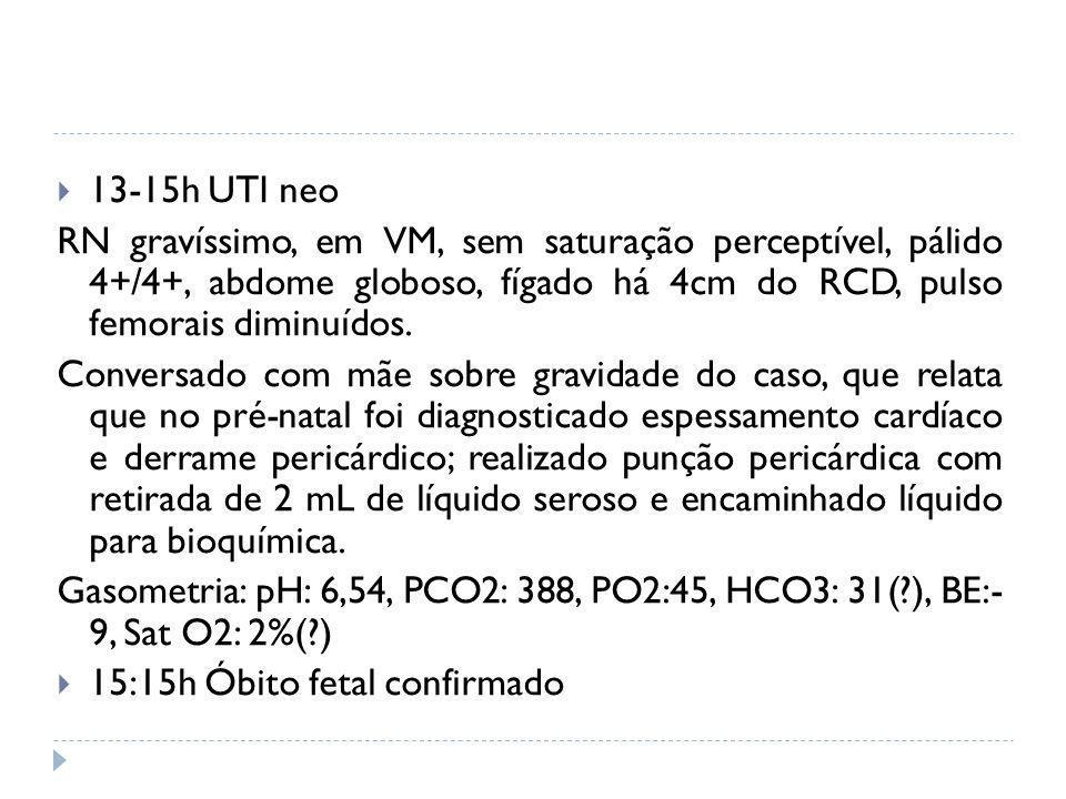 13-15h UTI neo RN gravíssimo, em VM, sem saturação perceptível, pálido 4+/4+, abdome globoso, fígado há 4cm do RCD, pulso femorais diminuídos. Convers