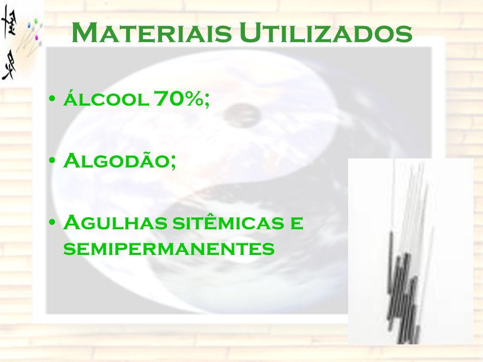 Materiais Utilizados álcool 70%; Algodão; Agulhas sitêmicas e semipermanentes