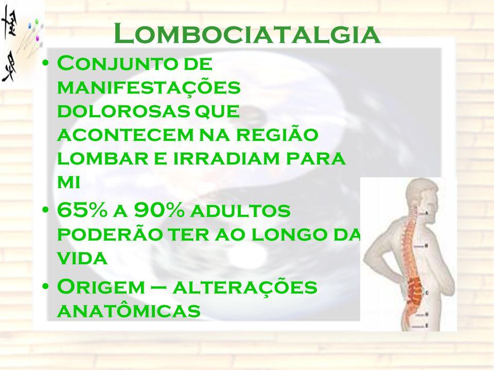 Lombociatalgia Conjunto de manifestações dolorosas que acontecem na região lombar e irradiam para mi 65% a 90% adultos poderão ter ao longo da vida Or
