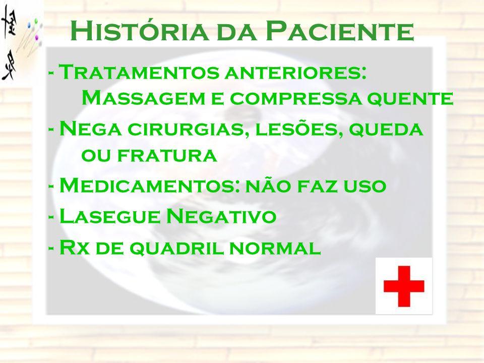 História da Paciente - Tratamentos anteriores: Massagem e compressa quente - Nega cirurgias, lesões, queda ou fratura - Medicamentos: não faz uso - La