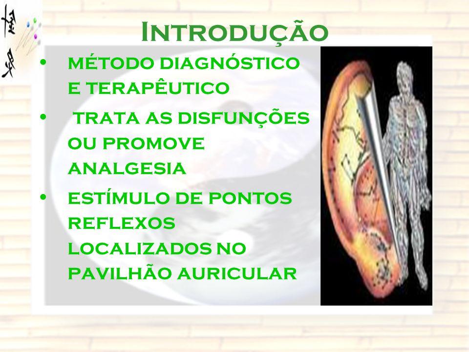 Introdução método diagnóstico e terapêutico trata as disfunções ou promove analgesia estímulo de pontos reflexos localizados no pavilhão auricular