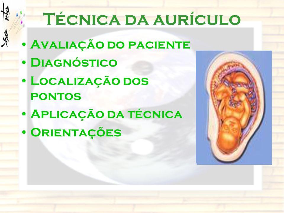 Técnica da aurículo Avaliação do paciente Diagnóstico Localização dos pontos Aplicação da técnica Orientações