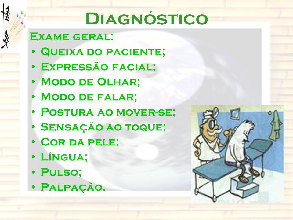 Diagnóstico Exame geral: Queixa do paciente; Expressão facial; Modo de Olhar; Modo de falar; Postura ao mover-se; Sensação ao toque; Cor da pele; Líng