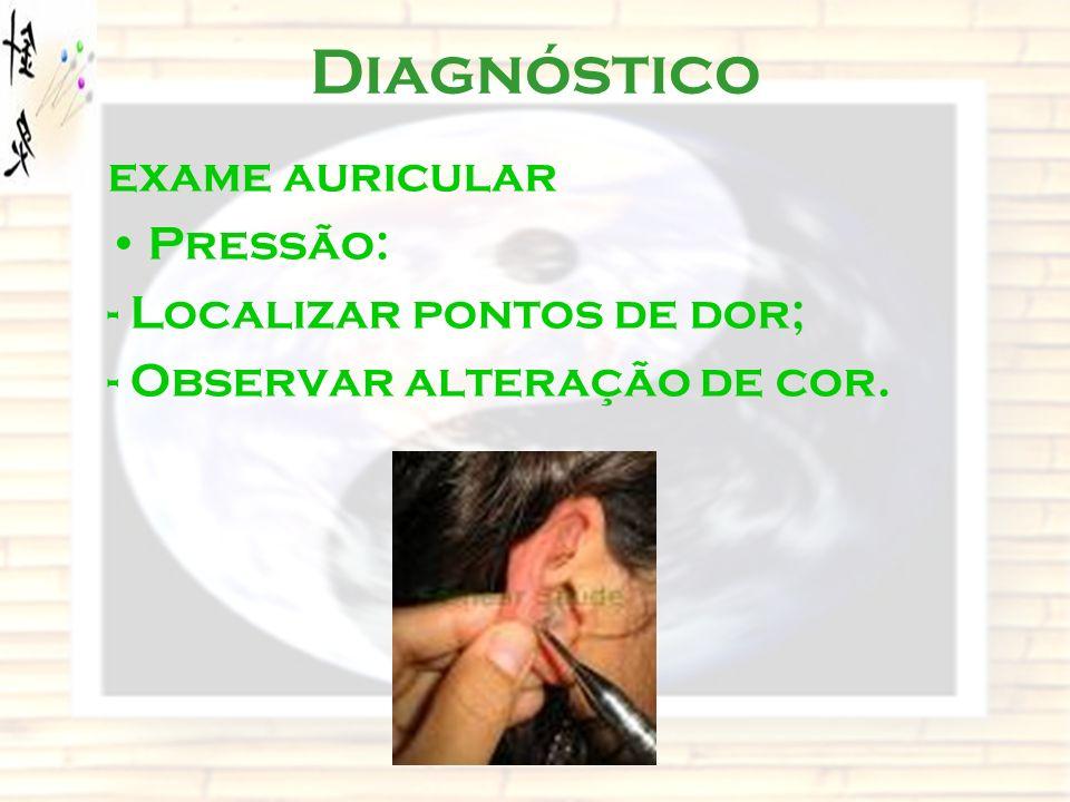 Diagnóstico exame auricular Pressão: - Localizar pontos de dor; - Observar alteração de cor.