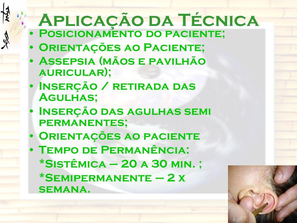 Aplicação da Técnica Posicionamento do paciente; Orientações ao Paciente; Assepsia (mãos e pavilhão auricular); Inserção / retirada das Agulhas; Inser
