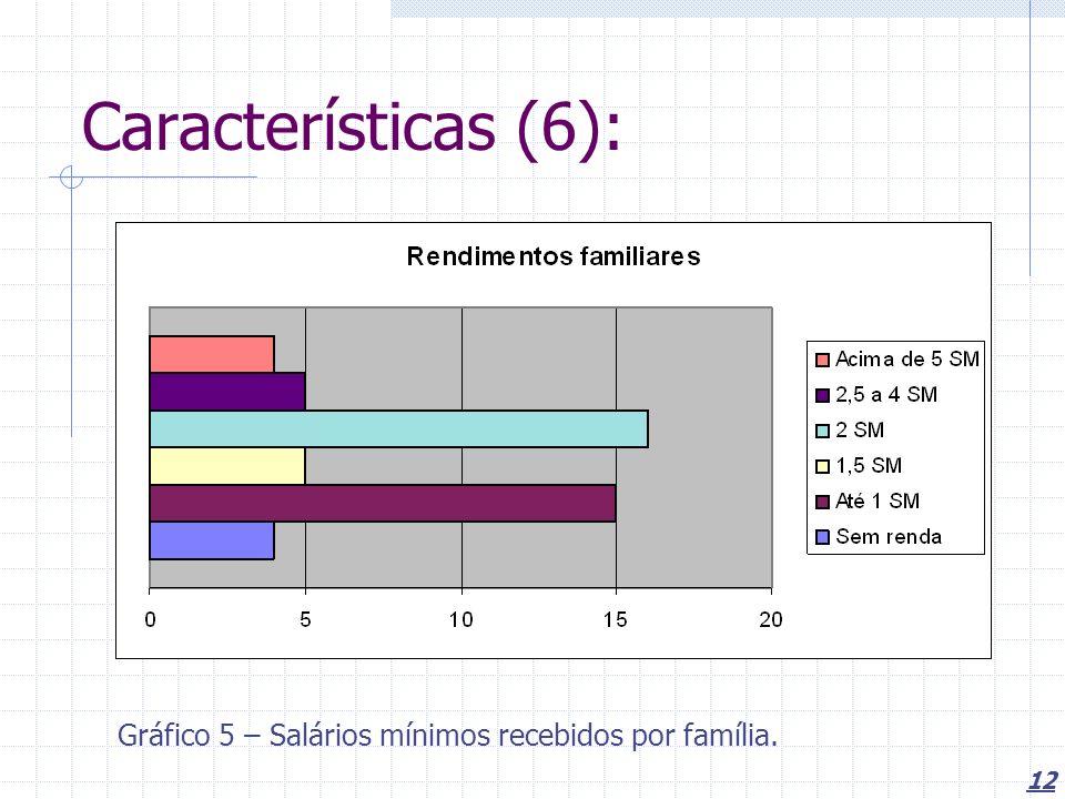 12 Características (6): Gráfico 5 – Salários mínimos recebidos por família.
