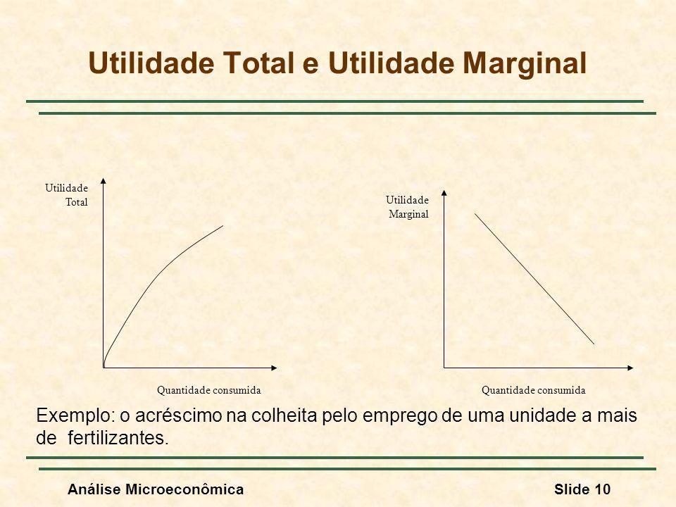 Análise MicroeconômicaSlide 10 Utilidade Total e Utilidade Marginal Quantidade consumida Utilidade Total Utilidade Marginal Exemplo: o acréscimo na co
