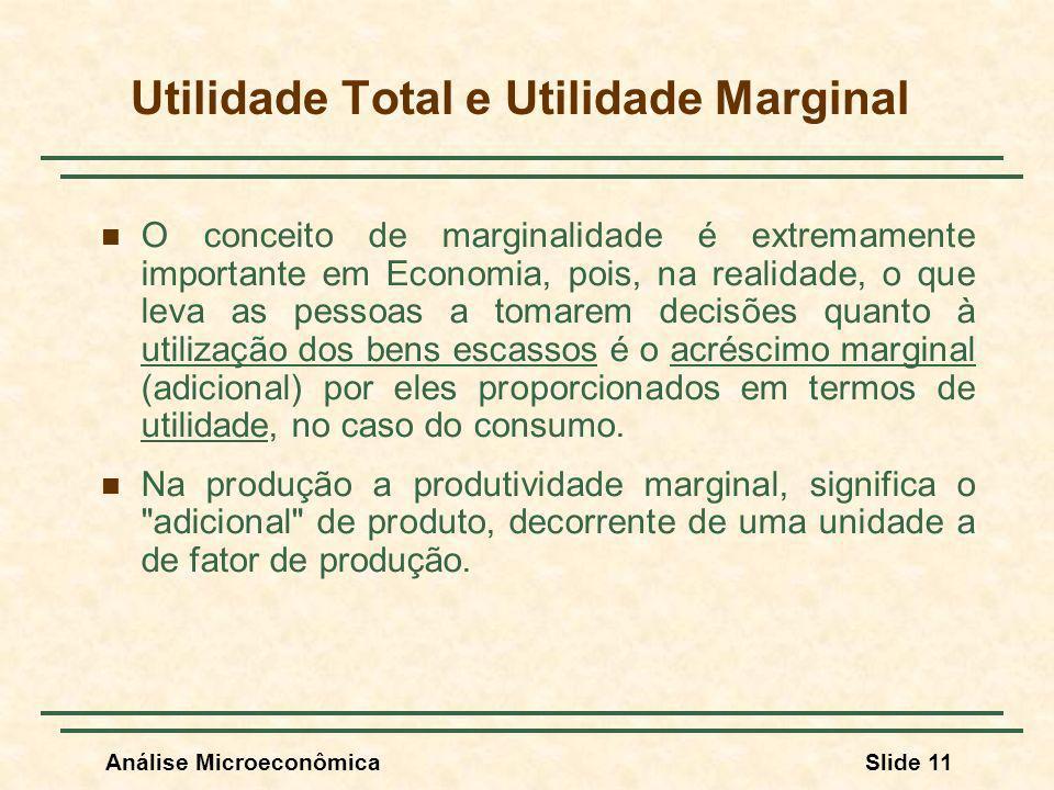 Análise MicroeconômicaSlide 11 O conceito de marginalidade é extremamente importante em Economia, pois, na realidade, o que leva as pessoas a tomarem