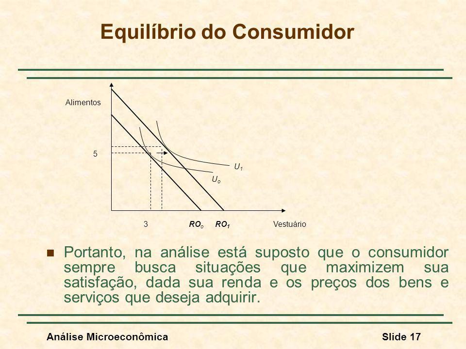 Análise MicroeconômicaSlide 17 Equilíbrio do Consumidor Portanto, na análise está suposto que o consumidor sempre busca situações que maximizem sua sa