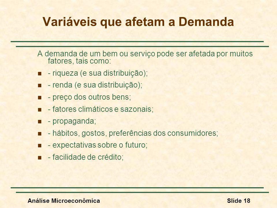 Análise MicroeconômicaSlide 18 Variáveis que afetam a Demanda A demanda de um bem ou serviço pode ser afetada por muitos fatores, tais como: - riqueza