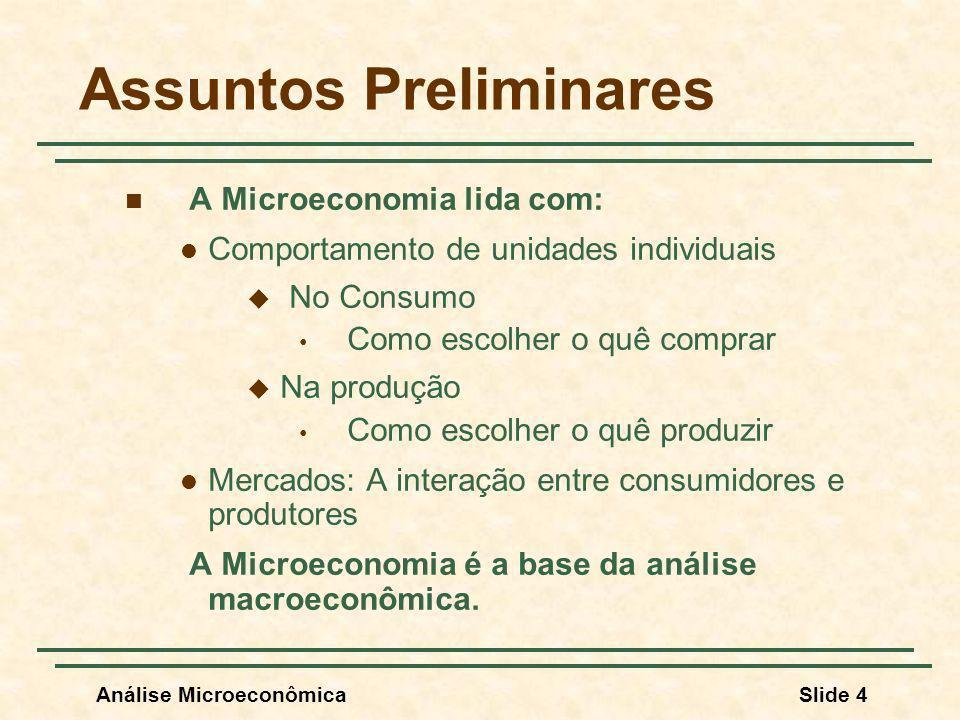 Análise MicroeconômicaSlide 4 Assuntos Preliminares A Microeconomia lida com: Comportamento de unidades individuais No Consumo Como escolher o quê com
