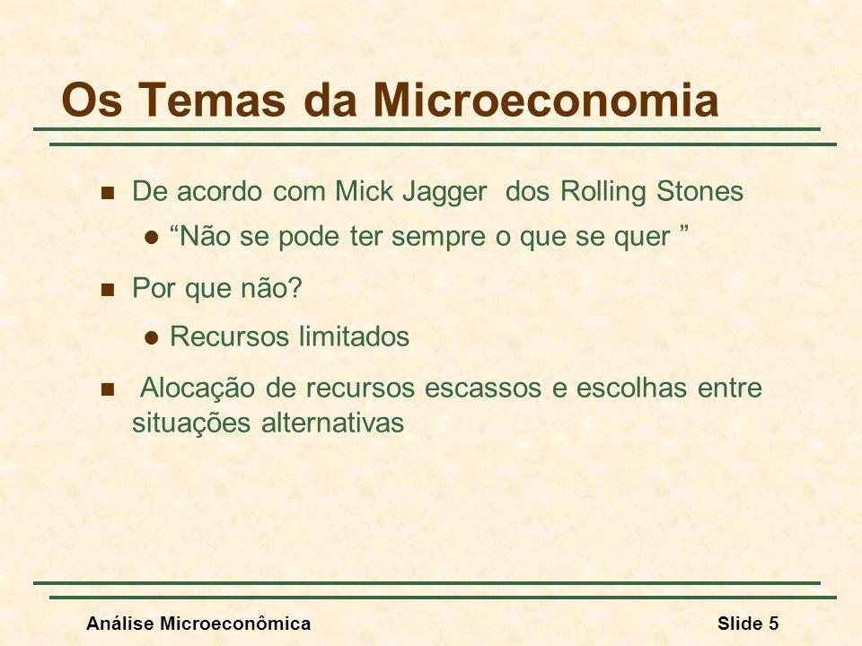 Análise MicroeconômicaSlide 5 Os Temas da Microeconomia De acordo com Mick Jagger dos Rolling Stones Não se pode ter sempre o que se quer Por que não?
