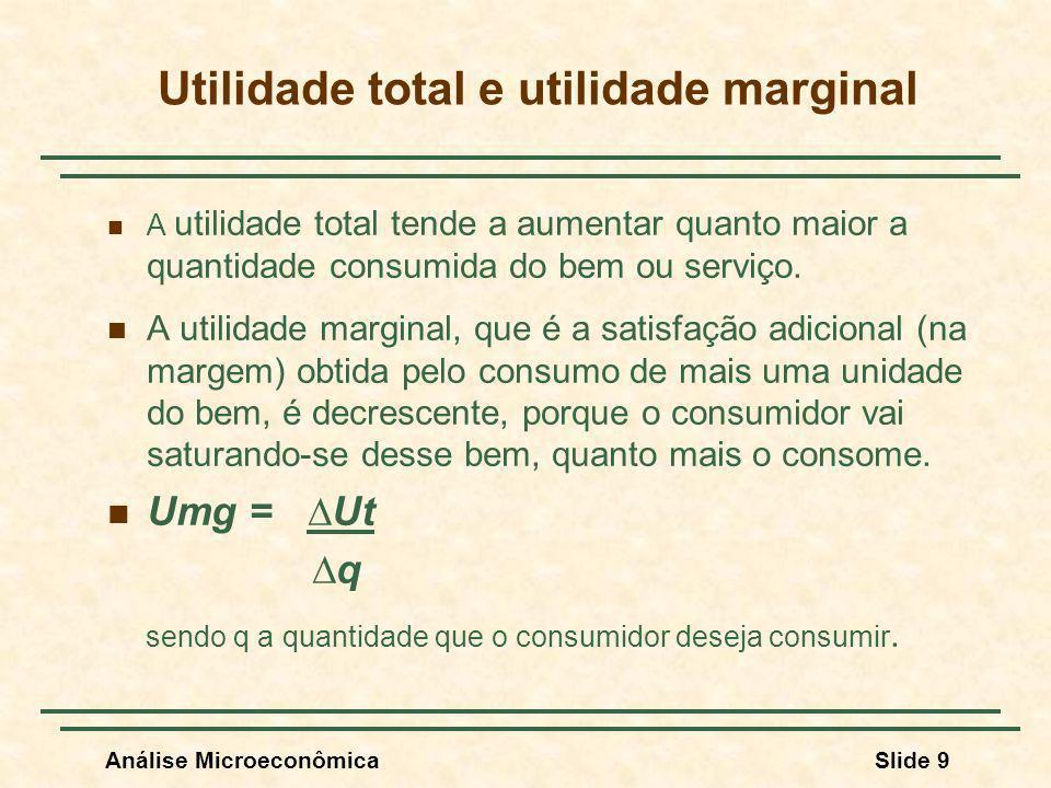 Análise MicroeconômicaSlide 10 Utilidade Total e Utilidade Marginal Quantidade consumida Utilidade Total Utilidade Marginal Exemplo: o acréscimo na colheita pelo emprego de uma unidade a mais de fertilizantes.