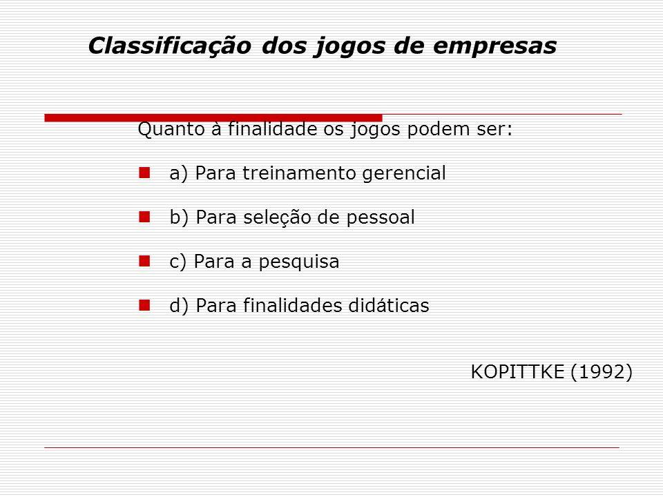 Classificação dos jogos de empresas Quanto à finalidade os jogos podem ser: a) Para treinamento gerencial b) Para sele ç ão de pessoal c) Para a pesquisa d) Para finalidades did á ticas KOPITTKE (1992)
