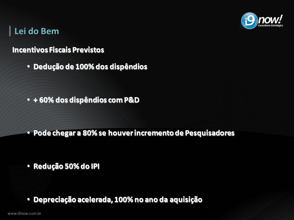 www.i9now.com.br Incentivos Fiscais Previstos Dedução de 100% dos dispêndios Dedução de 100% dos dispêndios + 60% dos dispêndios com P&D + 60% dos dis