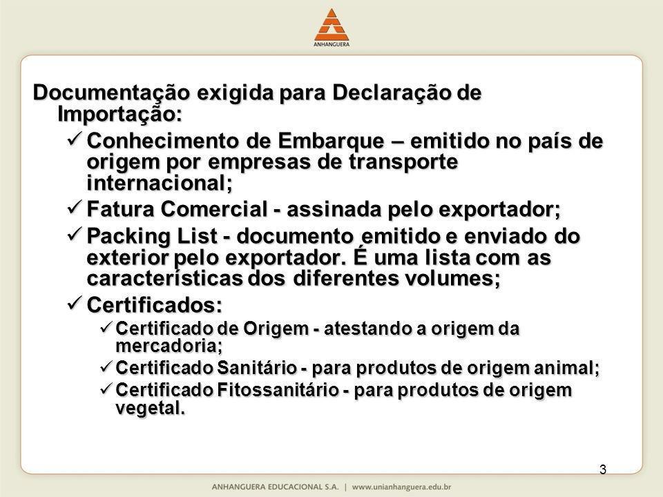 3 Documentação exigida para Declaração de Importação: Conhecimento de Embarque – emitido no país de origem por empresas de transporte internacional; C
