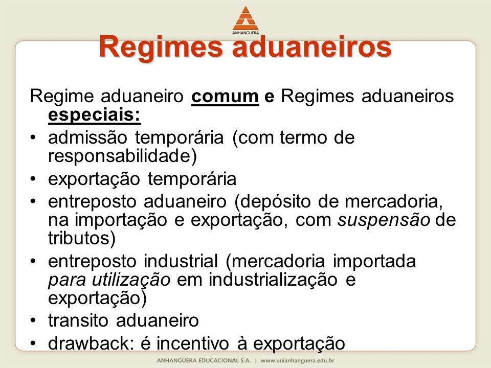 Regimes aduaneiros Regime aduaneiro comum e Regimes aduaneiros especiais: admissão temporária (com termo de responsabilidade) exportação temporária en